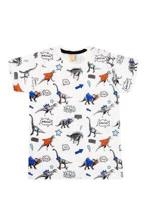 Camiseta Menino de Verão em Meia Malha Off White - Hrradinhos