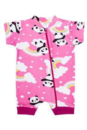 Macacão Menina de Verão em Suedine Rosa Rotativo de Panda - Kappes