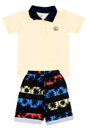 Conjunto Menino de Verão Camiseta Polo Amarela e Bermuda Preto - Kappes