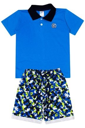 Conjunto Menino de Verão Camiseta Polo Royal e Bermuda Marinho - Kappes