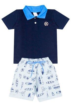 Conjunto Menino de Verão Camiseta Polo Marinho e Bermuda Verde - Kappes