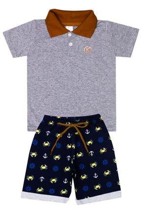 Conjunto Menino de Verão Camiseta Polo Mescla e Bermuda Marinho -Kappes