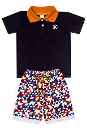 Conjunto Menino de Verão Camiseta Polo Preto e Bermuda Azul - Kappes