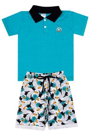 Conjunto Menino de Verão Camiseta Polo Verde e Bermuda Gelo - Kappes