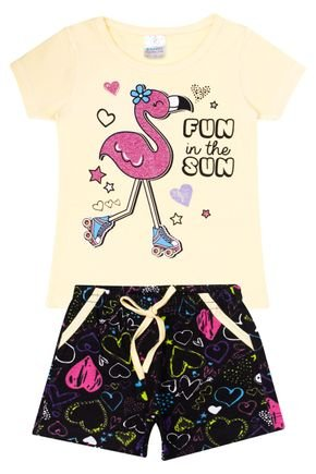 Conjunto Menina em Cotton Blusa Amarelo e Shorts Preto Rotativo - Kappes