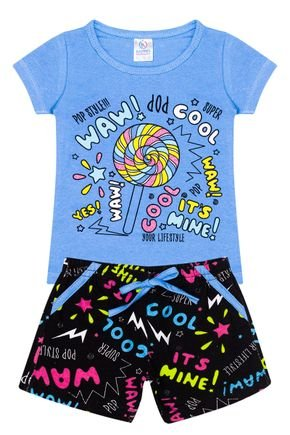 Conjunto Menina Blusa Azul e Shorts Preto Rotativo - Kappes