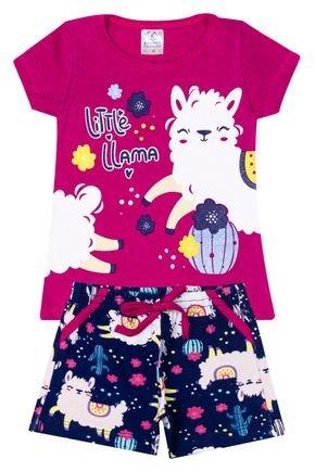 Conjunto Menina Blusa Pink e Shorts Marinho Rotativo - Kappes