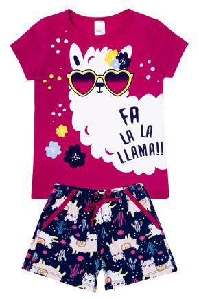 Conjunto Menina Blusa Pink e Shorts Marinho Rotativo - Liga Nessa