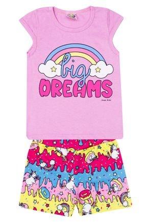 Conjunto Menina Blusa Rosa e Shorts em Suplex Pink Rotativo - Kontrato
