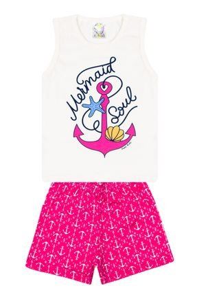 Conjunto Menina Regata Off White e Shorts Pink Sublimado - Kontrato