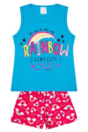 Conjunto Menina Regata Jade e Shorts Pink Sublimado - Kontrato