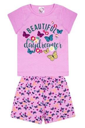 Conjunto Pijama Menina Rosa Blusa Lisa e Shorts Rotativo - Kontrato