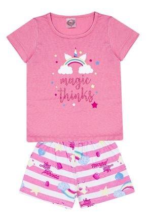 Conjunto Pijama Menina Blusa Chiclete e Shorts Off White Rotativo - Kontrato