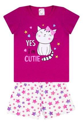 Conjunto Pijama Menina Blusa Pink e Shorts Off White Rotativo - Kontrato