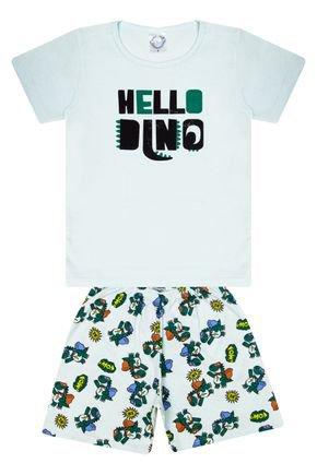 Conjunto Pijama Menino Camiseta Verde Claro e Bermuda Rotativa - Kontrato