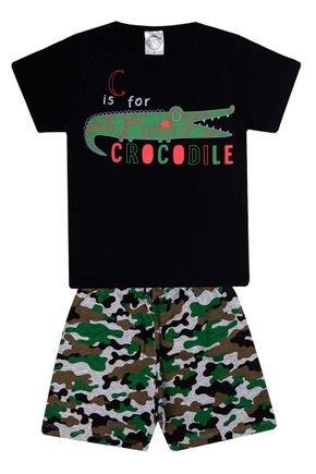 Conjunto Pijama Menino Camiseta Preta e Bermuda Mescla - Kontrato