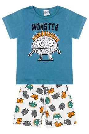 Conjunto Pijama Menino Camiseta Petróleo e Bermuda Branca - Kontrato