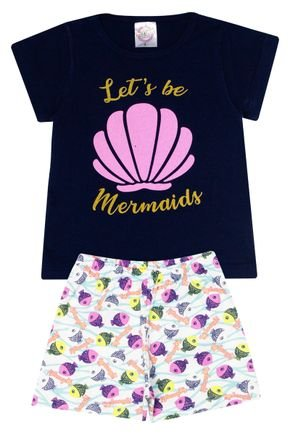 Conjunto Pijama Menina  Blusa Marinho e Shorts Off White Rotativo - Kontrato