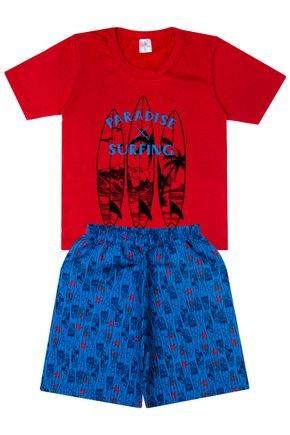 Conjunto Menino Camiseta Vermelha e Bermuda Azul Rotativa - Liga Nessa