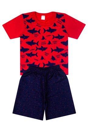 Conjunto Menino Camiseta Vermelha e Bermuda Marinho  - Liga Nessa