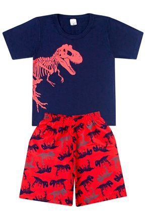 Conjunto Menino Camiseta Marinho e Bermuda Vermelha - Liga Nessa