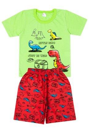 Conjunto Menino Camiseta Verde Lima e Bermuda Vermelha - Liga Nessa