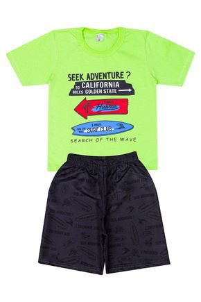 Conjunto Menino Camiseta Verde Lima e Bermuda Chumbo - Liga Nessa