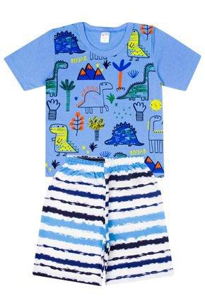 Conjunto Menino de Verão Camiseta Azul e Bermuda Branca - Liga Nessa