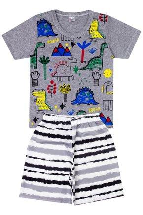 Conjunto Menino de Verão Camiseta Mescla e Bermuda Branca - Liga Nessa