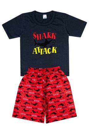 Conjunto Menino de Verão Camiseta Chumbo e Bermuda Vermelha-Liga Nessa