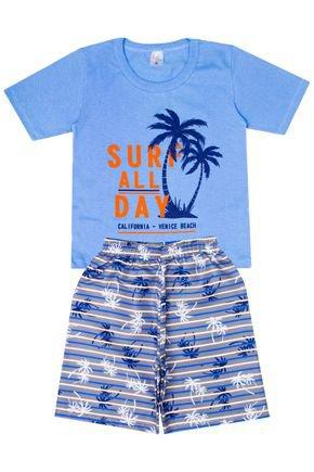 Conjunto Menino de Verão Camiseta Azul e Bermuda Cinza - Liga Nessa