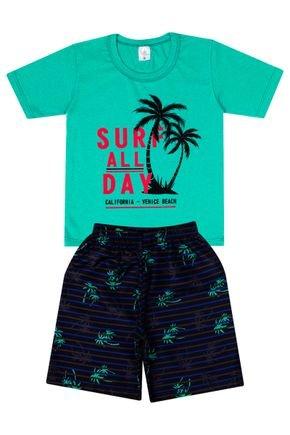 Conjunto Menino de Verão Camiseta Verde e Bermuda Preta - Liga Nessa
