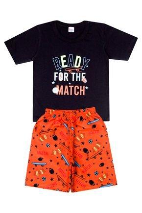 Conjunto Menino de Verão Camiseta Preta e Bermuda Laranja - Liga Nessa