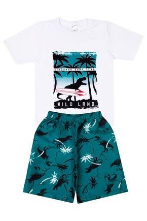 Conjunto Menino de Verão Camiseta Branca e Bermuda Verde - Liga Nessa