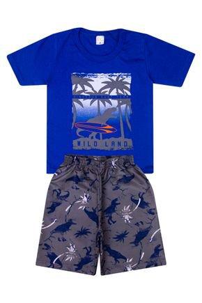 Conjunto Menino de Verão Camiseta Royal e Bermuda Chumbo  - Liga Nessa