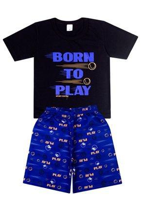 Conjunto Menino de Verão Camiseta Preto e Bermuda Azul  - Liga Nessa