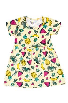 Vestido Menina de Verão em Suplex Amarelo Sublimado - Kontrato
