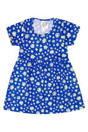 Vestido Menina de Verão em Suplex Azul Sublimado - Kontrato