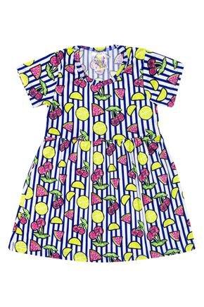 Vestido Menina de Verão em Suplex Azul Escuro Sublimado - Kontrato