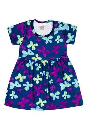 Vestido Menina de Verão em Suplex Marinho Sublimado - Kontrato