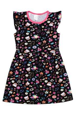 Vestido Menina de Verão em Cotton Preto Rotativo - Liga Nessa