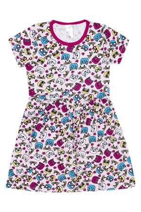 Vestido Menina de Verão em Cotton Rosa Rotativo - Liga Nessa