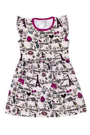 Vestido Menina de Verão em Cotton Rosinha Rotativo - Liga Nessa