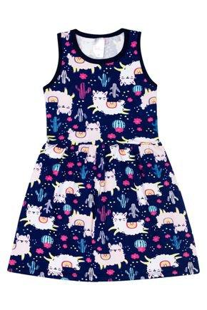 Vestido Menina de Verão em Cotton Marinho Rotativo de Ilhamas - Liga Nessa
