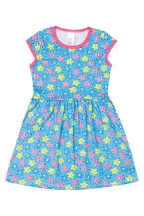 Vestido Menina de Verão em Cotton Azul Rotativo - Liga Nessa
