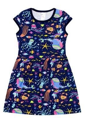 Vestido Menina de Verão em Cotton Marinho Rotativo - Liga Nessa