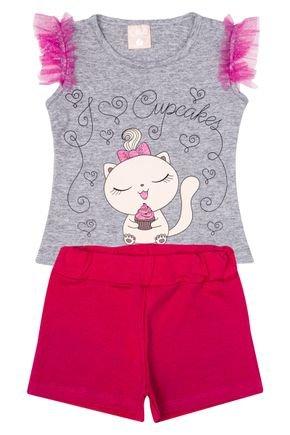 Conjunto Menina de Verão Blusa Mescla e Shorts Pink - Ollelê