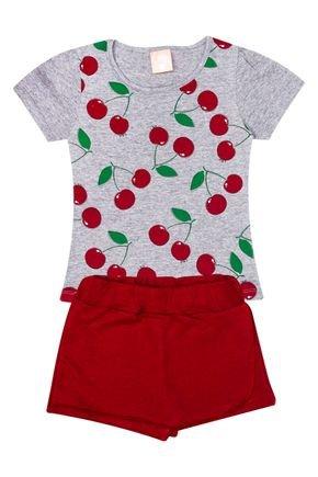 Conjunto Menina de Verão Blusa Mescla e Shorts Saia Vermelha - Ollelê