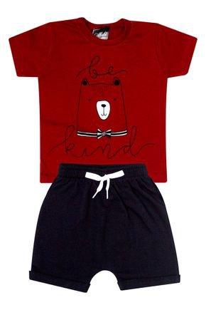 Conjunto Menino de Verão Camiseta Vermelha e Bermuda Preto - Ollelê