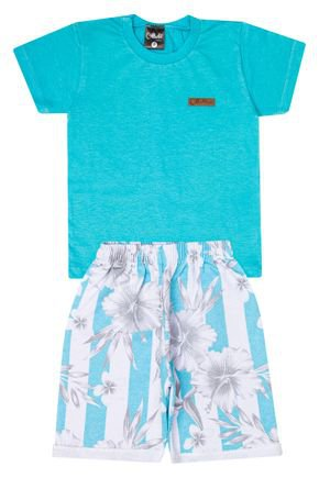 Conjunto Menino de Verão Camiseta Verde Claro e Bermuda Branco - Ollelê